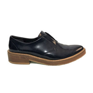ZARA BASIC Collection Blue Patent Leather Loafers
